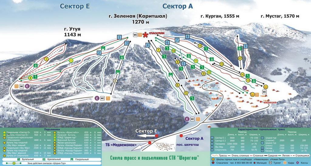 Схема трасс Шерегеша.